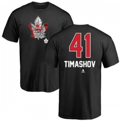 Men's Dmytro Timashov Toronto Maple Leafs Name and Number Banner Wave T-Shirt - Black
