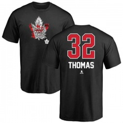 Men's Steve Thomas Toronto Maple Leafs Name and Number Banner Wave T-Shirt - Black