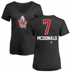 Women's Lanny McDonald Toronto Maple Leafs Name and Number Banner Wave V-Neck T-Shirt - Black