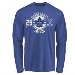 Youth Felix Potvin Toronto Maple Leafs Insignia Tri-Blend Long Sleeve T-Shirt - Royal